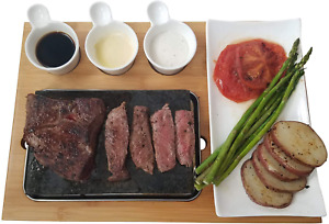 Cooking Stone - Complete Set Lava Hot Steak Stone Plate and Cold Lava Rock Hibac