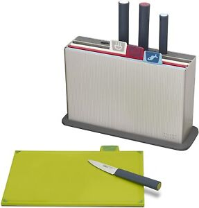Joseph Joseph 60096 Index Plastic Cutting Board Set with 4 Matching Knives and