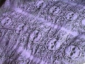 PURPLE BLACK SKULL GOTHIC PIRATE BROCADE FABRIC