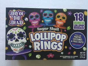 Day Of The Dead Sugar Skull Decorated Lollipop Rings Candy 18 count