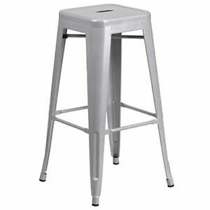 Flash Furniture 30'' High Backless Silver Metal Indoor-Outdoor (1 Pack|Silver)