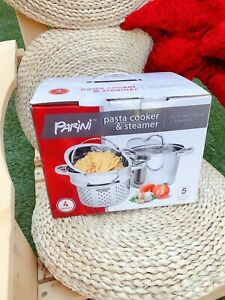 Parini Pasta Cooker & Steamer 4-PC Stainless Steel New in the Box 5 qt Capacity