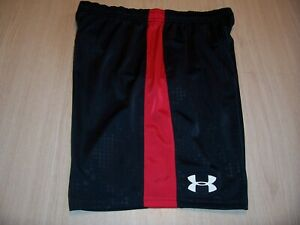 UNDER ARMOUR LOOSE FIT BLACK W RED ATHLETIC SHORTS BOYS XL 18 20 EXCELLENT $5.52