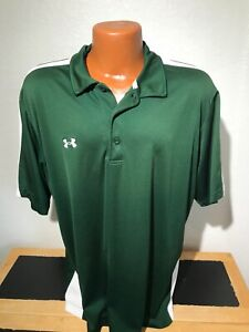 Mens Under Armour Heat Gear S S Polo Golf Shirt Extra Large XL Green $7.99
