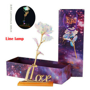 24K Gold Foil Rose Flower LED Galaxy Mother's Day Valentine's Day Gift w/Base