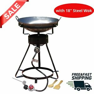 Portable Propane Stove Gas Outdoor Cooker Steel Wok Cooking Thermometer portable