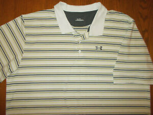 UNDER ARMOUR SHORT SLEEVE STRIPED POLO SHIRT MENS 3XL EXCELLENT CONDITION $6.05