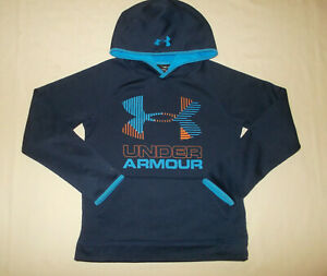 UNDER ARMOUR COLD GEAR NAVY BLUE HOODED SWEATSHIRT BOYS MEDIUM EXCELLENT COND. $8.50