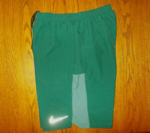 NIKE DRI FIT DARK GREEN ATHLETIC SHORTS WITH LINER MENS MEDIUM EXCELLENT COND. $8.50
