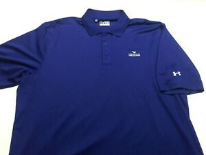 Mens UNDER ARMOUR Polo Golf Shirt Heat Gear Blue 2XL XXL Loose $3.25