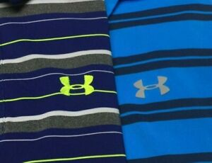 lot of 2 Mens UNDER ARMOUR Polo Golf Shirt Heat Gear Blue short sleeve loose $0.99