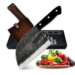 Butcher Knife Meat Cleaver Kitchen Chef's Knife Tang Handle with Sheath