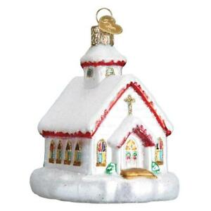WHITE amp; RED COUNTRY CHURCH OLD WORLD CHRISTMAS GLASS WORSHIP ORNAMENT NWT 20095