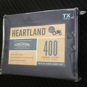 BLUE JEAN 3-pc Heartland 400 TC 100% HomeGrown Cotton Sateen Twin XL Sheet Set