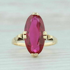 Vintage 2.5ct Oval Cut Red Ruby 14k Yellow Gold Finish Solitaire Engagement Ring