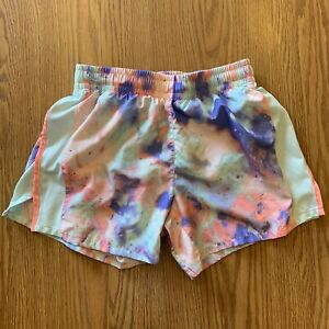 Nike Dri Fit Athletic Lined Running Shorts Youth Girls Large Multicolor Tie Dye $9.99