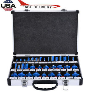 35Pcs 1/4 Inch Shank Tungsten Carbide Woodworking Milling Cutter Router Bits Set