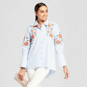 Women#x27;s Long Sleeve Button Up Blouse with Embroidery Alison Andrews Blue XL