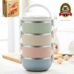 Gradient Color Lunch Box Food Bento Box Stainless Steel Container 4 Layer NEW