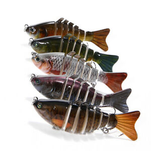 5Pcs 7 Segment Multi Jointed Fishing Lures Fishing Bait WHooks New