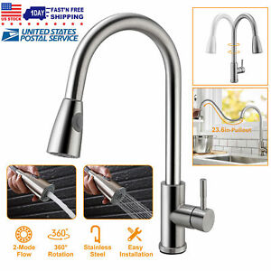 Brushed Kitchen Sink Faucet Pull Out Sprayer Single Hole Swivel Mixer Tap New