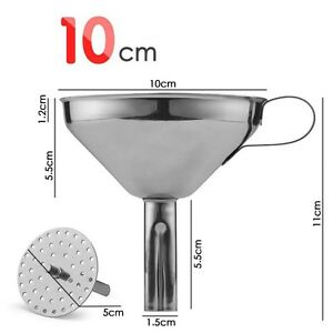 10cm STAINLESS STEEL Wide Mouth Funnel Multi Purpose Removable Cone Filter