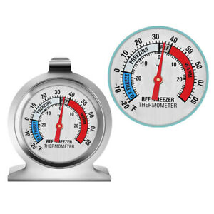 3PCS Fridge Freezer Traditional Dial Thermometer Stainless Steel for Kitchen