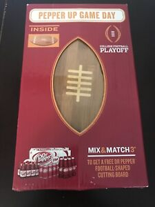 dr pepper up game day football shape promo cutting board sealed in box