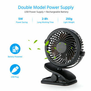 3 Speeds USB Rechargeable Mini Cooling Fan Clip On Desk Stroller Portable Newest