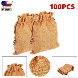 100 Pcs Gift Bags for Wedding Jewelry Home Burlap Bags Light Coffee New 17*23cm