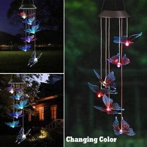 Solar Color Changing LED Butterfly Wind Chimes Garden Yard Hanging Light Lamp US