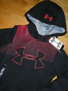 Under Armour Boys Hoodie Sweatshirt Pullover Black Red Big Logo YXS 6 6X NWT $14.99
