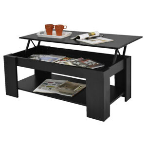 Lift Top Coffee End Table with Storage Space Shelves Living Room Furniture Black