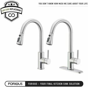 Stainless Steel Kitchen Sink Faucet with Pull Down Sprayer Brushed Nicke