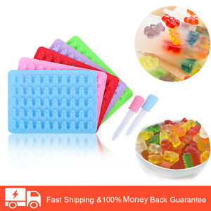 5PCS Silicone Molds Adorable Gummy Bears Candy Molds Lovely Jelly Drops Molds