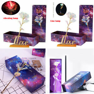 24K Gold Foil Rose Flower LED Luminous Galaxy Mother's Day Valentine's Day YT