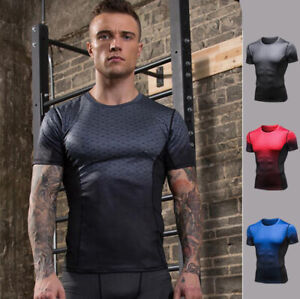 Mens Fitness Training Compression Base layer Gym Slim Tight Cool Dry Shirts Tops $14.24