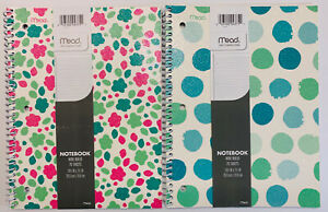 """Set Of 2 Mead Glitter Glam 70 Sheet Wide Ruled Spiral Notebooks 10.5""""x7.5"""""""