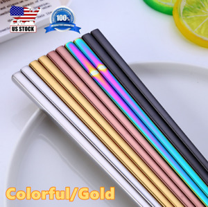 Stainless Steel Chinese Korean Chopsticks Pair Colorful Gold Reusable Food Set $7.18