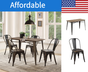 5-Piece Metal Dining Set with Solid Wood Old industrial Waterproof