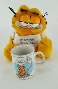 Vintage 1978 Garfield Coffee Cup and 1981 9quot; Garfield plush Not Fat Under Tall $25.00