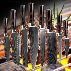 Kitchen Chef's Knife Set Damascus Stainless Steel Sharp Cleaver Pattern Gifts