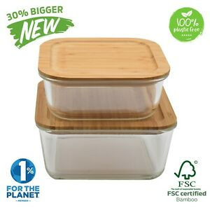 Large Glass Food Storage Containers with Bamboo Lids | Eco Meal Prep Containers