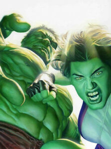 Incredible Hulk Lithograph Painted by Artist Alex Ross She-Hulk Marvel 2010 $39.99