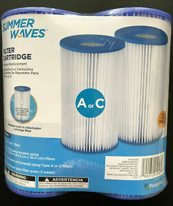 Summer Waves Pool Filter Cartridge Replacement Type A / C 2 Pack Polygroup Intex