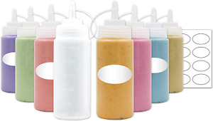 8-Pack Plastic Squeeze Squirt Bottles for Condiments with Caps and Included, for