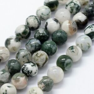 Bead strand Natural Tree Agate strand each 14 in long 6mm round Lot AA567 ***lt;gt;lt; $2.99
