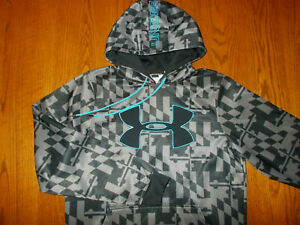 UNDER ARMOUR GRAY PRINT HOODED SWEATSHIRT MENS SMALL EXCELLENT CONDITION $11.50