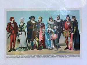 Antique Costumes of the Reformation England France Chromolithograph Fashion 1907 $0.99