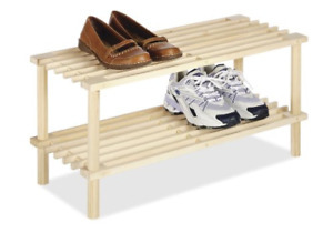 Small Shoe Rack Shelf For Shoes Double Deck Organizer Solid Wood Tier Low Kids